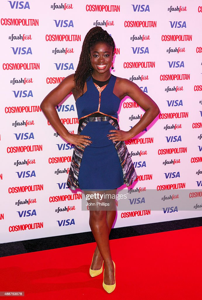 Clara Amfo attends the Catwalk to Cosmopolitan fashion show as part of the Cosmopolitan FashFest at Battersea Evolution on September 17 2015 in...