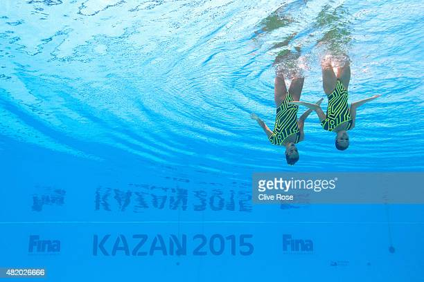 Clara Camacho and Ona Carbonell of Spain compete in the Women's Duet Technical Synchronised Swimming Final on day two of the 16th FINA World...