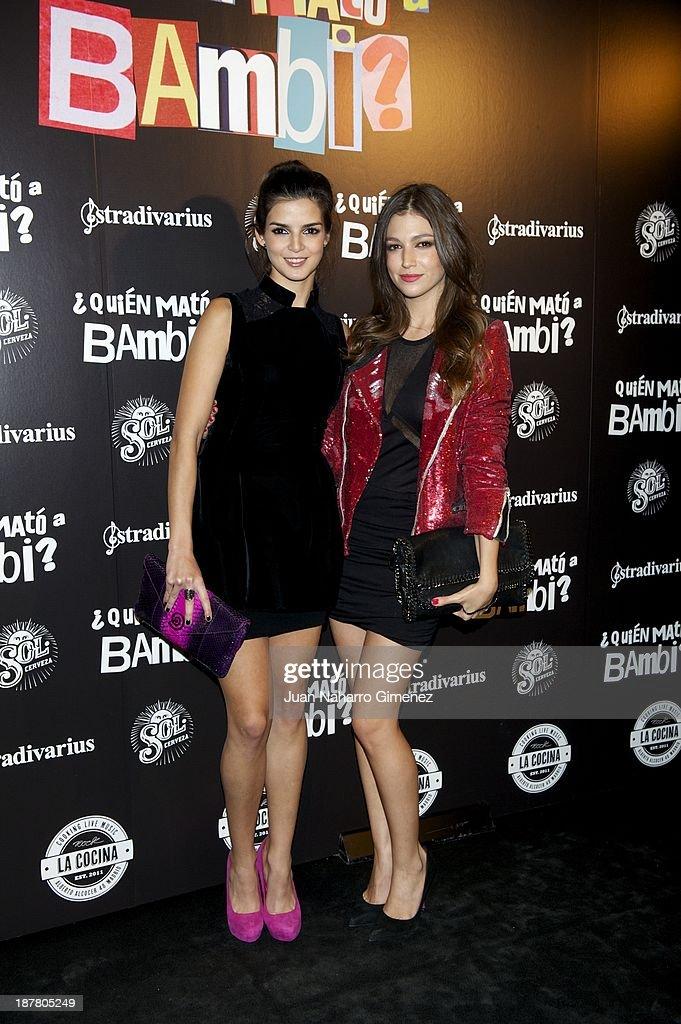 Clara Lago (L) and Ursula Corbero (R) attend 'Quien Mato a Bambi?' premiere at La Cocina Rock Bar on November 12, 2013 in Madrid, Spain.