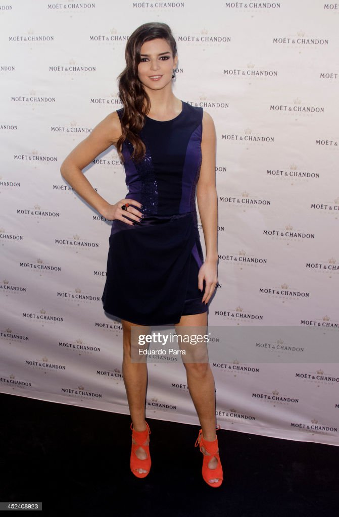 <a gi-track='captionPersonalityLinkClicked' href=/galleries/search?phrase=Clara+Lago&family=editorial&specificpeople=3378948 ng-click='$event.stopPropagation()'>Clara Lago</a> attends 'Moet Golden Glass' party photocall at Le Boutique on November 28, 2013 in Madrid, Spain.