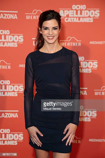 Clara Lago attends 'Ocho Apellidos Catalanes' wearing a BDBA dress and Lodi shoes at Bosque Cinema on November 19 2015 in Barcelona Spain