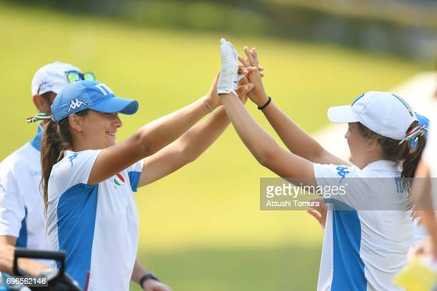 Clara Manzalini of Italy highfives Elena Verticchio of Italy during the final round of the 2017 TOYOTA Junior Golf World Cup at the Chukyo Golf Club...