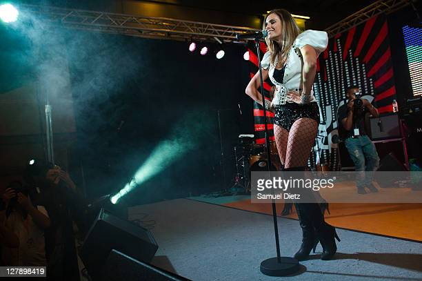 Clara Morgane performs live at Parc des Expositions Porte de Versailles on October 2 2011 in Paris France