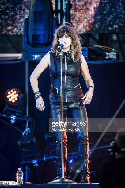 Clara Moroni chorist of the italian singer Vasco Rossi performs during the record concert at Enzo Ferrari Park where 220000 people attends Modenda...