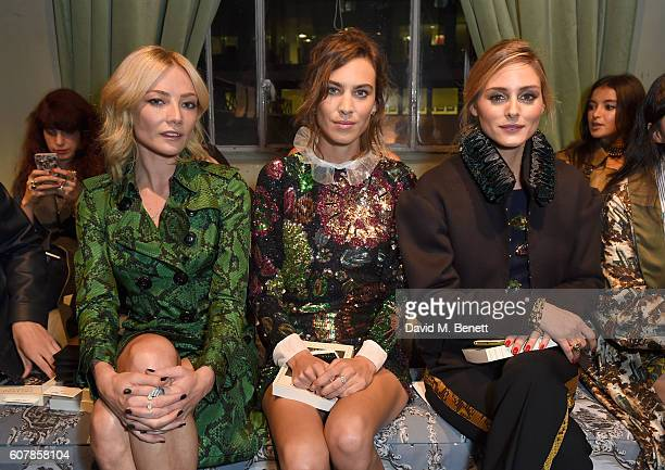 Clara Paget Alexa Chung and Olivia Palermo wearing Burberry at the Burberry September 2016 show during London Fashion Week SS17 at Makers House on...