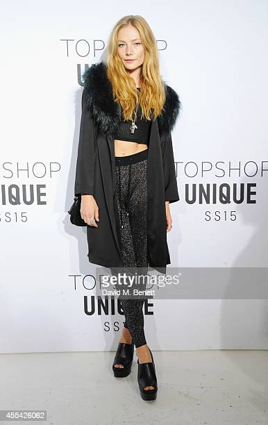 Clara Paget arrives at the Topshop Unique SS15 show on September 14 2014 in London England