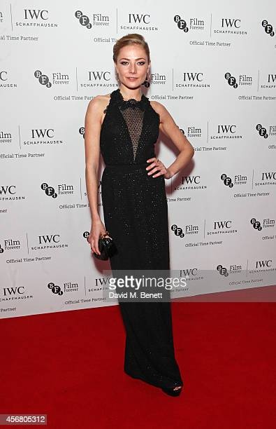 Clara Paget attends the BFI London Film Festival IWC Gala Dinner in honour of the BFI at Battersea Evolution Marquee on October 7 2014 in London...