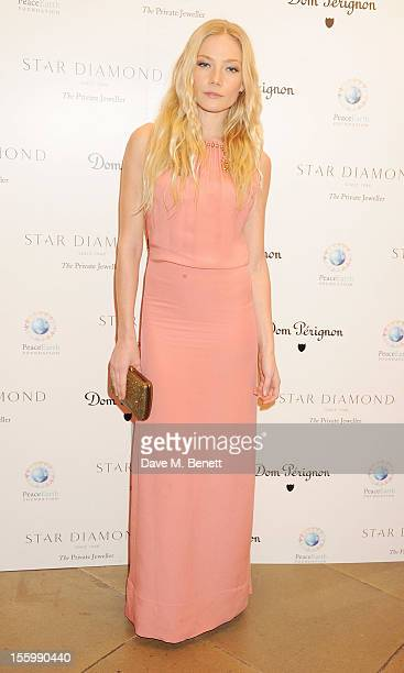 Clara Paget attends the Place For Peace dinner cohosted by Ella Krasner and Forest Whitaker to support the Peace Earth Foundation in association with...