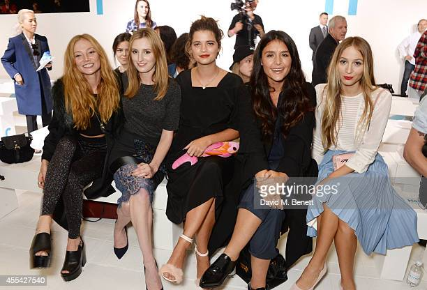 Clara Paget Laura Carmichael Pixie Geldof Jessie Ware and Harley Viera Newton attend the Topshop Unique SS15 Front Row on September 14 2014 in London...