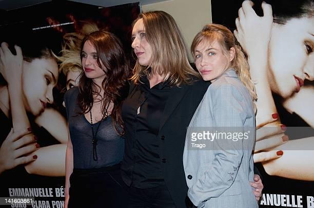 Clara Ponsot Virginie Despentes and Emmanuelle Beart attend the 'Bye Bye Blondie' Paris premiere at UGC Cine Cite des Halles on March 19 2012 in...