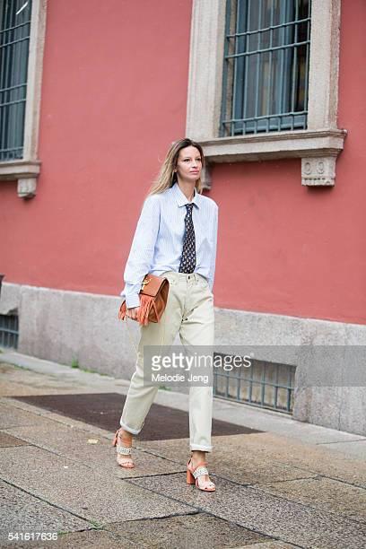 Clara Racz during the Milan Men's Fashion Week Spring/Summer 2017 on June 19 2016 in Milan Italy