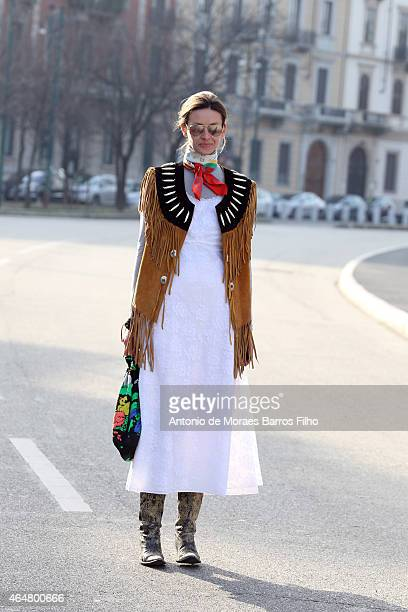 Clara Racz is seen in the streets of Milan arriving at the Jil Sander show during Milan Fashion Week 2015 on February 28 2015 in Milan Italy