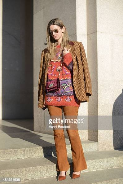 Clara Racz poses in a vintage outfit on February 26 2015 in Milan Italy