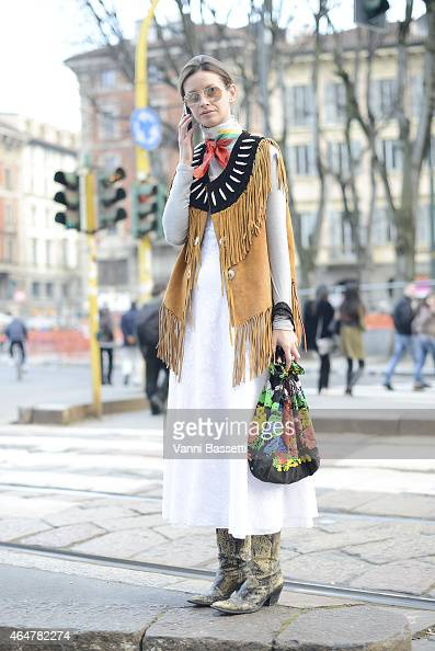 Clara Racz poses in a vintage outfit on February 28 2015 in Milan Italy