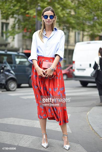 Clara Racz poses wearing a vintage outfit before the Elie Saab show at Rue Cambon on July 8 2015 in Paris France