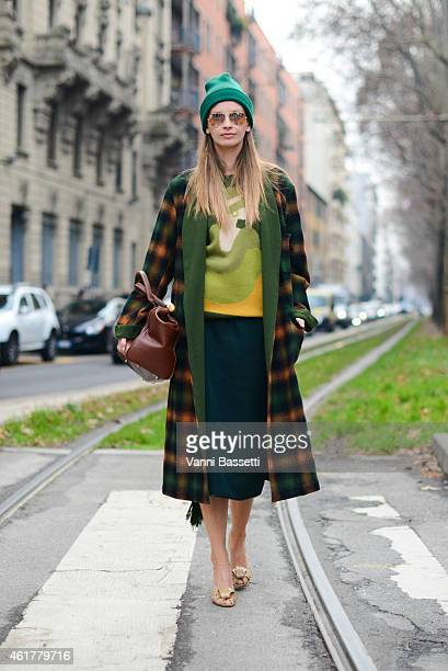 Clara Racz poses wearing a vintage outfit during day 3 of Milan Menswear Fashion Week Fall/Winter 2015/2016 on January 19 2015 in Milan Italy