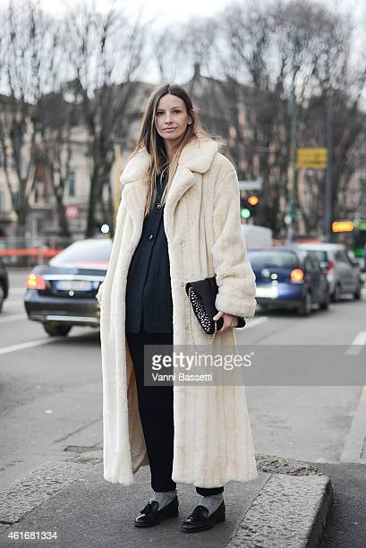 Clara Racz poses wearing a vintage outfit Manurina clutch and Geox shoes on January 17 2015 in Milan Italy