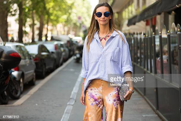 Clara Racz wears a vintage outfit during Milan Men's Fashion Week Spring/Summer 2016 on June 20 2015 in Milan Italy
