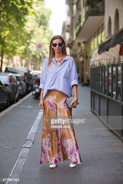 Clara Racz wears a vintage outfit during Milan Men's Fashion Week Spring/Summer 2016 on June 20 2015 in Milan Italy