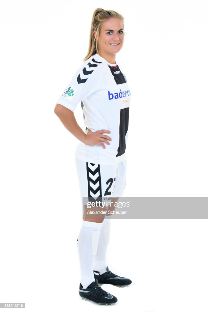 Clara Schoene of SC Freiburg poses during the Allianz Frauen Bundesliga Club Tour at Elbigenalp on August 21, 2017 in Elbigenalp, Austria.