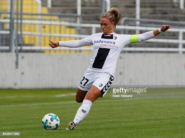 Clara Schone of SC Freiburg in action during the women Bundesliga match between Bayern Muenchen and SC Freiburg at Stadion an der Gruenwalder Strasse...