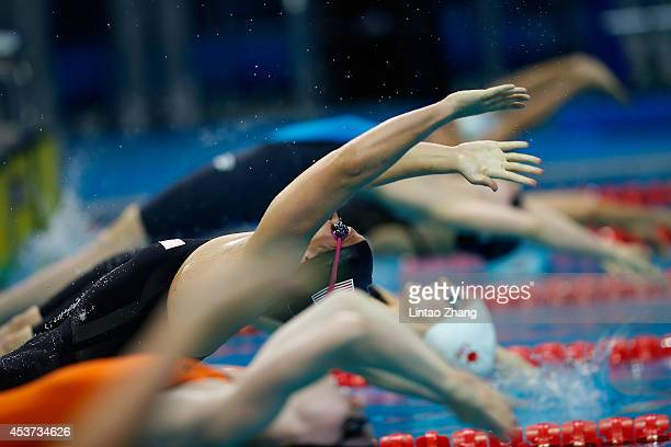 Clara Smiddy of United States competes in the Women's 100m Backstroke Semifinals on day one of Nanjing 2014 Summer Youth Olympic Games at Nanjing...
