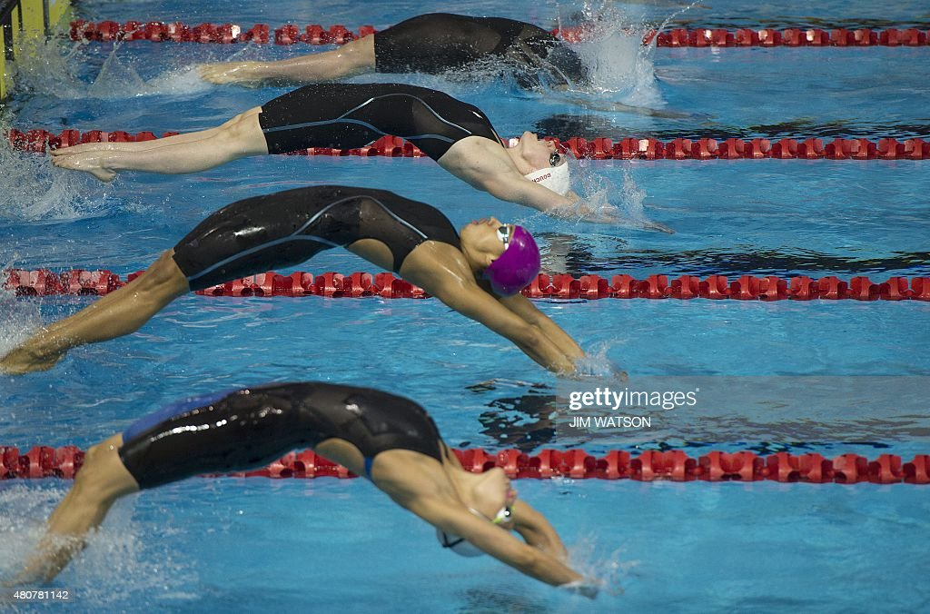 Clara Smiddy of USA Dominique Bouchard of Canada Carolina Colorado of Colombia and Ines Remersaro of Uruguay compete in the Women's 200M Backstroke...
