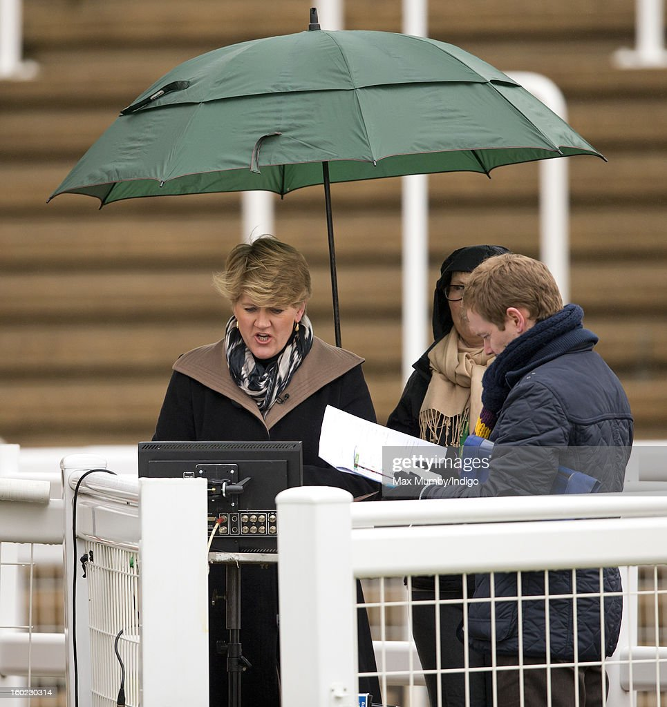 Clare Balding at work during her first live racing broadcast for Channel 4 Racing at the Festival Trials Day at Cheltenham Racecourse on January 26, 2013 in Cheltenham, England. Clare Balding heads up the new team of presenters for Channel 4 Racing.
