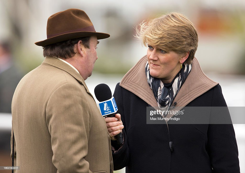 Clare Balding interviews racehorse trainer Nicky Henderson during her first live racing broadcast for Channel 4 Racing at the Festival Trials Day at Cheltenham Racecourse on January 26, 2013 in Cheltenham, England. Clare Balding heads up the new team of presenters for Channel 4 Racing.