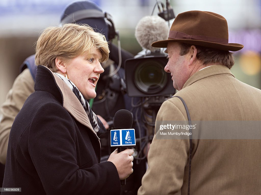 <a gi-track='captionPersonalityLinkClicked' href=/galleries/search?phrase=Clare+Balding&family=editorial&specificpeople=2055901 ng-click='$event.stopPropagation()'>Clare Balding</a> interviews racehorse trainer Nicky Henderson during her first live racing broadcast for Channel 4 Racing at the Festival Trials Day at Cheltenham Racecourse on January 26, 2013 in Cheltenham, England. <a gi-track='captionPersonalityLinkClicked' href=/galleries/search?phrase=Clare+Balding&family=editorial&specificpeople=2055901 ng-click='$event.stopPropagation()'>Clare Balding</a> heads up the new team of presenters for Channel 4 Racing.