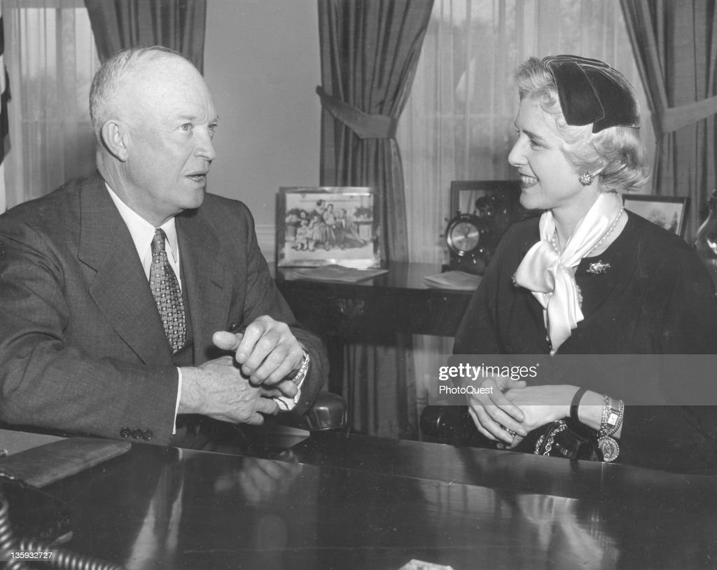 Clare Booth Luce, Ambassador to Italy, visits US President <a gi-track='captionPersonalityLinkClicked' href=/galleries/search?phrase=Dwight+Eisenhower&family=editorial&specificpeople=90742 ng-click='$event.stopPropagation()'>Dwight Eisenhower</a> at the White House, Washington DC, January 6, 1954.