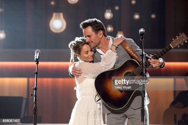 Clare Bowen and Charles Esten perform onstage during the 11th Annual ACM Honors at the Ryman Auditorium on August 23 2017 in Nashville Tennessee