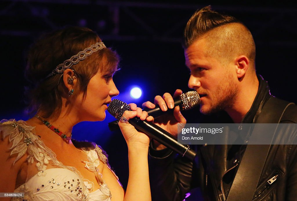 <a gi-track='captionPersonalityLinkClicked' href=/galleries/search?phrase=Clare+Bowen&family=editorial&specificpeople=5711319 ng-click='$event.stopPropagation()'>Clare Bowen</a> performs alongside fiance Brandon Robert Young at the Metro Theatre on May 28, 2016 in Sydney, Australia.
