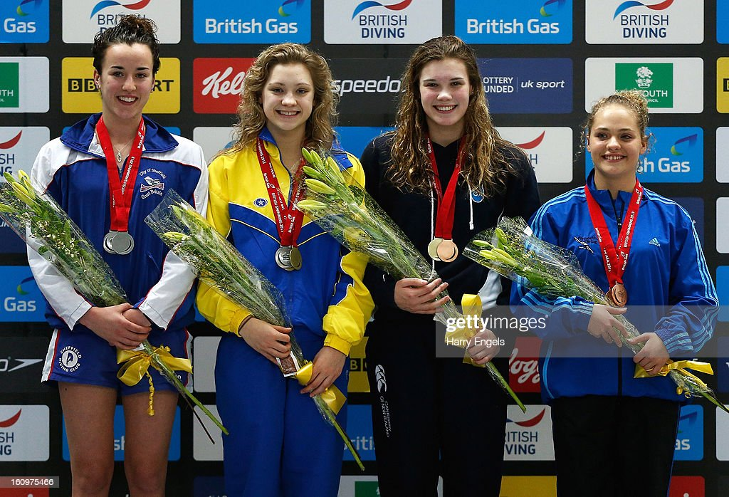 Clare Cryan, Alicia Bragg, Grace Reid and Francesca Del Celo pose with their medals following the Women's 1m Final on day 1 of the British Gas Diving Championships on February 8, 2013 in Plymouth, England.
