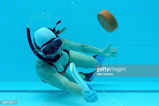 Clare Gleeson of Western Australia poses for a photograph during the 2014 Australian Underwater Hockey Championships at Palm Beach Aquatic Centre on...