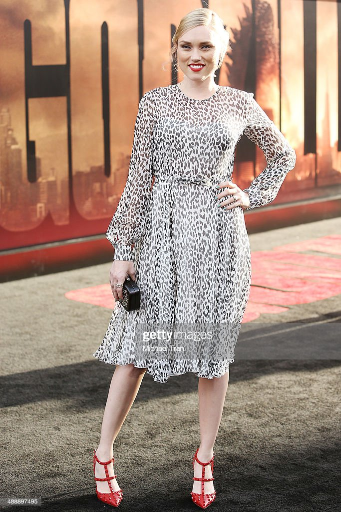 Clare Grant arrives at the Los Angeles premiere of 'Godzilla' held at Dolby Theatre on May 8, 2014 in Hollywood, California.