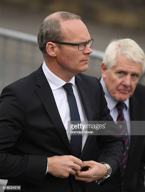 Clare Ireland 21 October 2016 Minister for Housing Planning and Local Government Simon Coveney TD arrives for the funeral of Munster Rugby head coach...