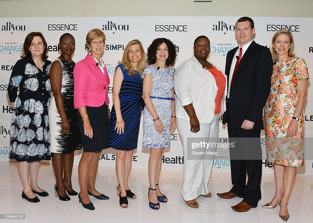 Clare McHugh; Vanessa Bush, Essence magazine editor-in-chief; Former N.J. Governer <a gi-track='captionPersonalityLinkClicked' href=/galleries/search?phrase=Christine+Todd+Whitman&family=editorial&specificpeople=209018 ng-click='$event.stopPropagation()'>Christine Todd Whitman</a>; journalist Kelly Wallace; author Dr. Gail Saltz; Cleopatra Cowley-Pendleton, mother of gun violence victim; Colin Goddard, Virginia Tech shooting survivor and Kristin Van Ogtrop, editor of 'Real Simple' magazine attend 'Make One Simple Change' panel and breakfast at Time-Life Building on June 13, 2013 in New York City.