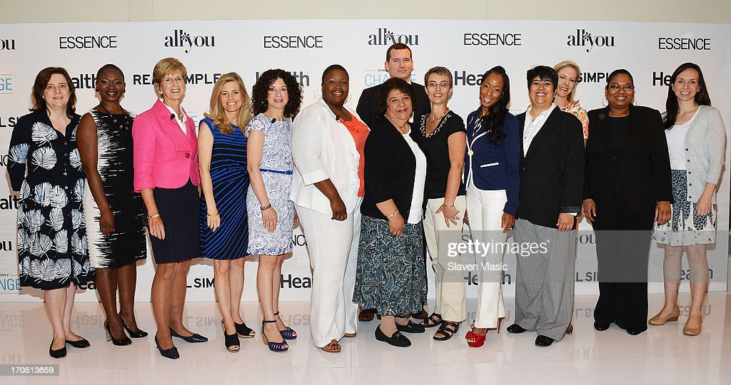 Clare McHugh; Vanessa Bush, Essence magazine editor-in-chief; Former N.J. Governer Christine Todd Whitman; journalist Kelly Wallace; author Dr. Gail Saltz; Cleopatra Cowley-Pendleton, mother of gun violence victim; Colin Goddard, Virginia Tech shooting survivor; Kristin Van Ogtrop, editor of 'Real Simple' magazine, winners Kimberly Booker; Noemi Carlos Amstrong,; Alicia Doyle Lynch; Shafiqah Hudson; Dawn Moll and Laura Trujillo attend 'Make One Simple Change' panel and breakfast at Time-Life Building on June 13, 2013 in New York City.