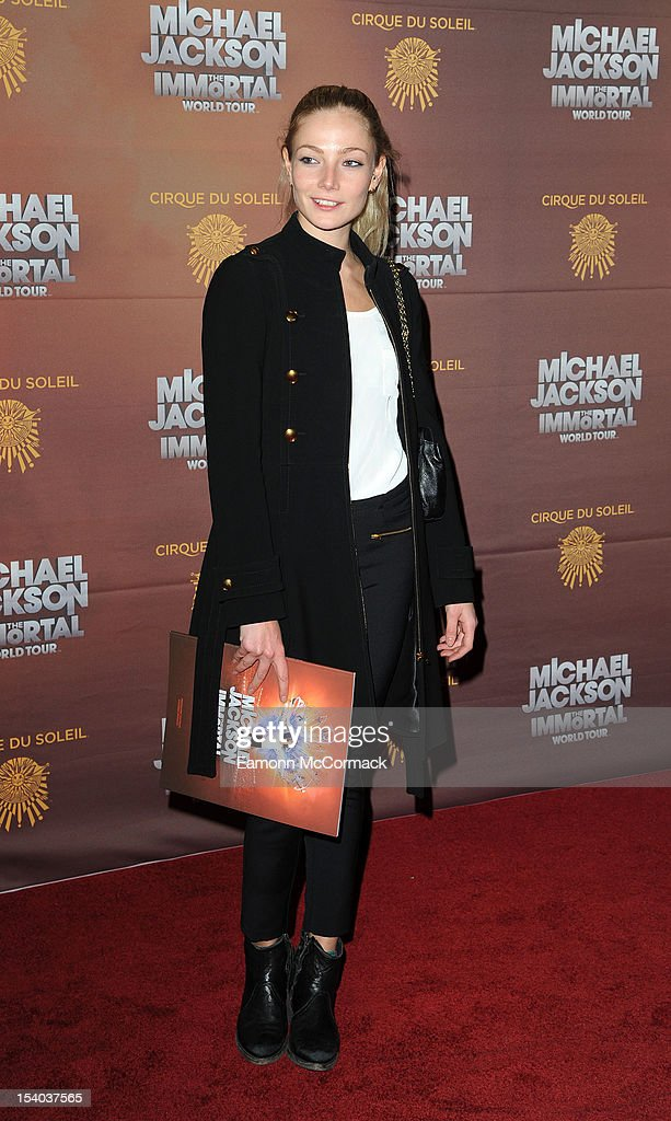 Clare Paget attends the opening night of Cirque Du Soleil's 'Michael Jackson The Immortal World Tour' at 02 Arena on October 12, 2012 in London, England.