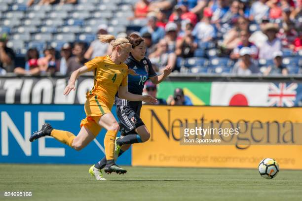 Clare Polkinghorne of Australia and Hikaru Kitagawa of Japan during the Tournament of Nations soccer match between Japan and Australia on July 30...
