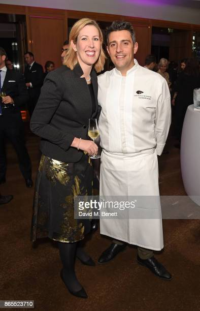 Clare Smyth and JeanPhilippe Blondet attend 10th anniversary of Alain Ducasse at The Dorchester on October 23 2017 in London England