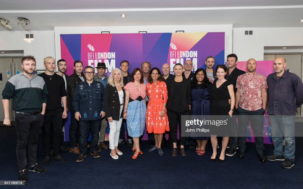 Clare Stewart and Amanda Nevill pose with a group of Feature Film makers during the BFI London Film Festival programme launch at Odeon Leicester Square on August 31, 2017 in London, England.