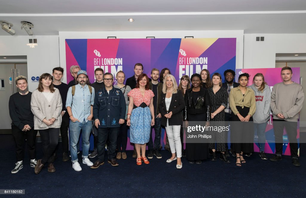 Clare Stewart and Amanda Nevill pose with a group of Short Film makers during the BFI London Film Festival programme launch at Odeon Leicester Square on August 31, 2017 in London, England.
