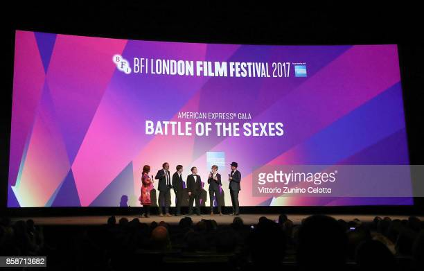 Clare Stewart Danny Boyle Christian Colson Simon Beaufoy Valerie Faris and Jonathan Dayton on stage at the American Express Gala European Premiere of...
