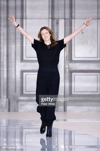 Clare Waight Keller walks the runway after the Chloe show as part of the Paris Fashion Week Womenswear Fall/Winter 2017/2018 on March 2 2017 in Paris...