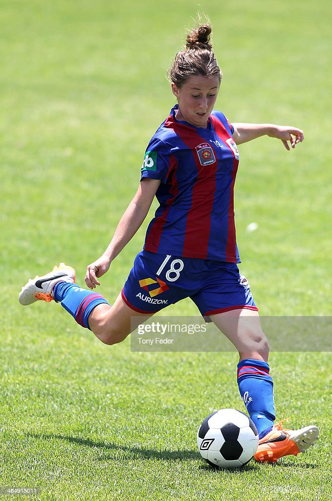 Clare Wheeler of the Jets in action during the round 10 W-League match between the Newcastle Jets and Melbourne Victory at Adamstown Oval on January 25, 2014 in Newcastle, Australia.