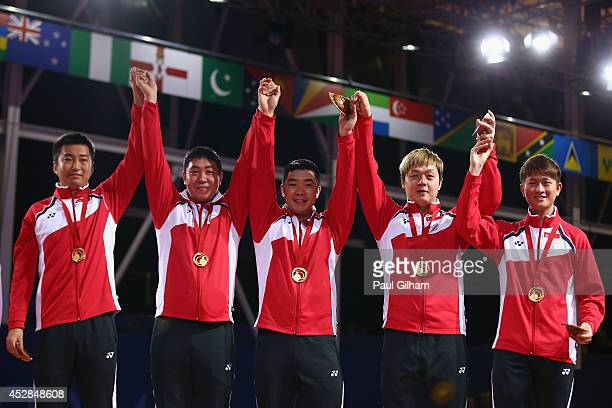 Clarence Chew Ning Gao Hu Li Zi Yang and Jian Zhan of Team Singapore celebrate with their Gold Medals after winning the Gold Medal in the Men's Team...