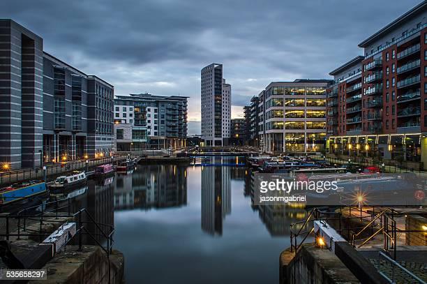 Clarence dock at dusk, Leeds, England, UK