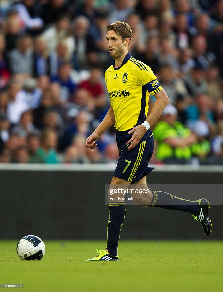 Clarence Goodson of Brondby IF in action during the Superliga match between Odense BK and Brondby IF at the TREFOR Park on August 72011 in...